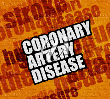 Health concept: Yellow Brickwall with Coronary Artery Disease on the it . Coronary Artery Disease - on Wall with Word Cloud Around .