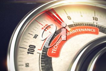 Conceptual Illustration of a Conceptual Meter with Red Needle Pointing to Maximum of Technical Maintenance. Horizontal image. 3D.