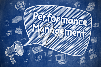 Yelling Bullhorn with Inscription Performance Management on Speech Bubble. Cartoon Illustration. Business Concept.