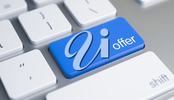 High Quality Render of a Modern Computer Keyboard Button. The Key is Blue in Color and there is Message Offer on It. Closeup of Offer Keyboard Blue Button. 3D Illustration.
