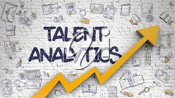 Talent Analytics - Modern Style Illustration with Doodle Design Elements. Talent Analytics - Success Concept with Doodle Design Icons Around on White Wall Background. 3D.
