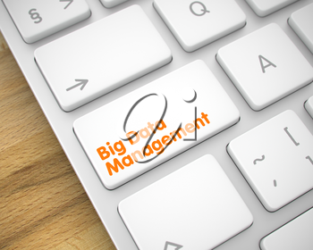 Slim Aluminum Keyboard Button Showing the Text Big Data Management. Message on Keyboard White Keypad. Big Data Management Written on the White Button of Modernized Keyboard. 3D Render.