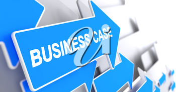 Business Case, Label on Blue Cursor. Business Case - Blue Arrow with a Label Indicates the Direction of Movement. 3D Render.