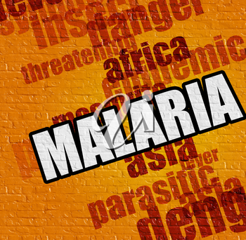 Medicine concept: Yellow Brickwall with Malaria on the it . Malaria - on Brickwall with Word Cloud Around .