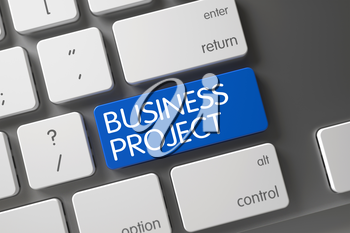 Business Project Concept: Modern Laptop Keyboard with Business Project, Selected Focus on Blue Enter Button. 3D Illustration.