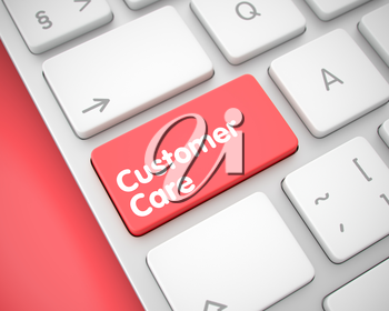 Online Service Concept: Customer Care on White Keyboard lying on Red Background. Service Concept with Conceptual Enter Red Button on the Keyboard: Customer Care. 3D.