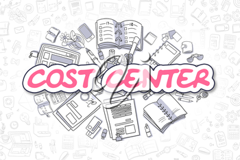 Cost Center - Sketch Business Illustration. Magenta Hand Drawn Word Cost Center Surrounded by Stationery. Cartoon Design Elements.