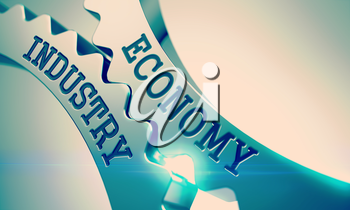 Economy Industry on Mechanism of Metal Cog Gears with Glowing Light Effect - Business Concept. Economy Industry on the Shiny Metal Cog Gears, Business Illustration with Lens Flare. 3D Illustration .