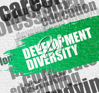 Education Concept: Development Diversity. Green Caption on the Brickwall. Development Diversity - on the Brick Wall with Word Cloud Around. Modern Illustration.