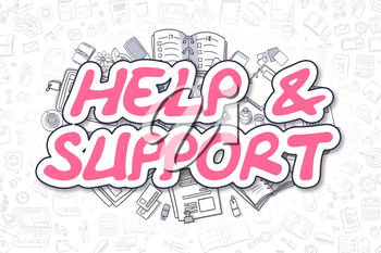 Business Illustration of Help And Support. Doodle Magenta Text Hand Drawn Cartoon Design Elements. Help And Support Concept.