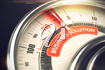 Business Solution - Red Label on Conceptual Dial with Needle. Business or Marketing Mode Concept. 3D.