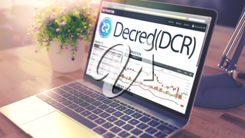Website of a Cryptocurrency Market with Dynamics of the Cost Change of Decred - DCR on Ultrabook Screen. Toned, Selective Focus. 3D .