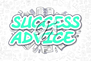 Green Word - Success Advice. Business Concept with Cartoon Icons. Success Advice - Hand Drawn Illustration for Web Banners and Printed Materials.