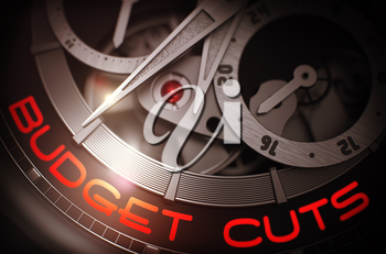 Fashion Watch with Budget Cuts Inscription on Face. Budget Cuts on the Elegant Wristwatch Detail, Chronograph Close-Up. Business and Work Concept with Glow Effect and Lens Flare. 3D Rendering.