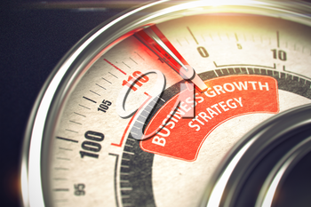 Conceptual Illustration of a Rev Counter with Red Needle Pointing to Maximum of Business Growth Strategy. Horizontal image. 3D Render.