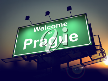 Welcome to Prague - Green Billboard on the Rising Sun Background.