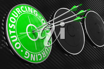 Outsourcing Concept. Three Arrows Hitting the Center of Green Target on Black Background.