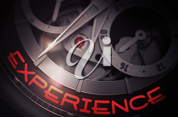 Experience on Old Pocket Watch, Chronograph Closeup. Old Wrist Watch Machinery Macro Detail with Inscription Experience. Business Concept with Glow Effect and Lens Flare. 3D Rendering.