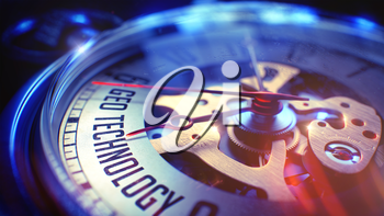 Vintage Pocket Watch Face with Geo Technology Inscription on it. Business Concept with Lens Flare Effect. 3D.