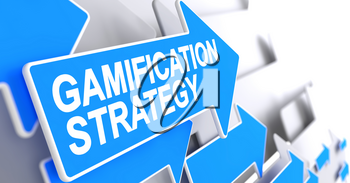 Gamification Strategy - Blue Arrow with a Inscription Indicates the Direction of Movement. Gamification Strategy, Text on Blue Arrow. 3D Render.