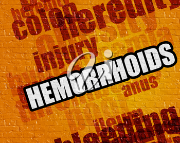 Modern health concept: Yellow Brickwall with Hemorrhoids on the it . Hemorrhoids - on the Brick Wall with Wordcloud Around .