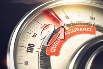 Quality Assurance - Conceptual Gauge with Red Caption on It. Horizontal image. 3D Illustration.