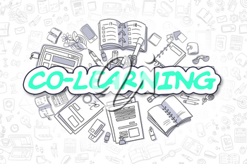 Co-Learning Doodle Illustration of Green Word and Stationery Surrounded by Cartoon Icons. Business Concept for Web Banners and Printed Materials.