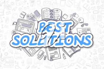 Best Solutions - Sketch Business Illustration. Blue Hand Drawn Word Best Solutions Surrounded by Stationery. Cartoon Design Elements.