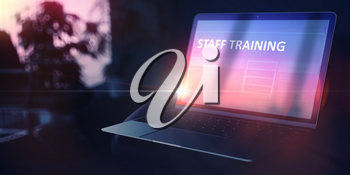 Staff Training on Modern Portable Laptop. Change of Profession Concept. 3D Rendering.