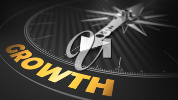 3D Illustration of an Abstract Compass Over Black Background with Needle Pointing the Text: Growth - Business Concept.