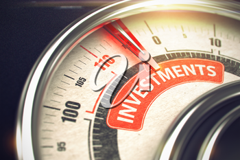 Shiny Metal Scale with Red Punchline Reach the Investments. Illustration with Depth of Field Effect. Gauge with Red Needle Pointing the Inscription Investments on Red Label. 3D.