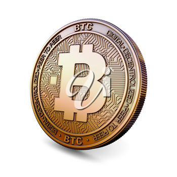 Bitcoin BTC - Cryptocurrency Coin Isolated on White Background. 3D rendering