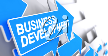 Business Development - Blue Arrow with a Label Indicates the Direction of Movement. Business Development, Label on the Blue Cursor. 3D Render.