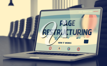 Page Restructuring. Closeup Landing Page on Mobile Computer Screen. Modern Meeting Hall Background. Blurred. Toned Image. 3D Render.