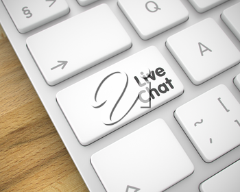 Business Concept with Computer Enter White Key on Keyboard: Live Chat. Online Service Concept: Live Chat on the Slim Aluminum Keyboard lying on Wood Background. 3D Render.
