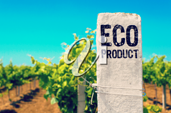 Ecological Concept. Eco Product - The Drawed Inscription on the White Color Gardens Fence.