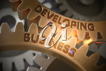 Developing Business Golden Metallic Gears. Developing Business - Illustration with Glowing Light Effect. 3D Rendering.