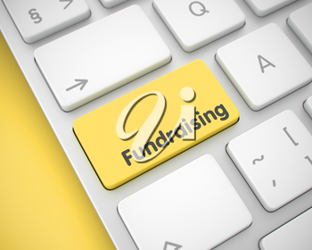 Online Service Concept: Fundraising on White Keyboard lying on Yellow Background. Fundraising Keypad on Keyboard Keys. with Yellow Background. 3D Render.