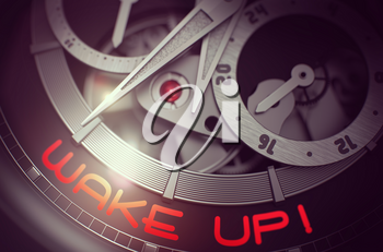 Wake Up on Luxury Pocket Watch, Chronograph Close-Up. Wake Up on Face of Men Wrist Watch Machinery Macro Detail Monochrome. Business Concept with Glowing Light Effect. 3D Rendering.