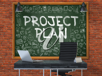 Project Plan Concept Handwritten on Green Chalkboard with Doodle Icons. Office Interior with Modern Workplace. Red Brick Wall Background. 3D.