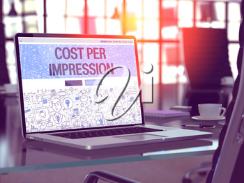 Cost Per Impression Concept Closeup on Landing Page of Laptop Screen in Modern Office Workplace. Toned Image with Selective Focus. 3D Render.