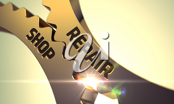 Repair Shop on Mechanism of Golden Metallic Cogwheels with Lens Flare. Repair Shop Golden Cogwheels. Repair Shop - Industrial Illustration with Glow Effect and Lens Flare. 3D.