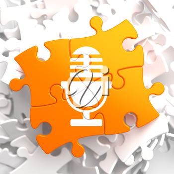 Microphone Icon on Orange Puzzle. Sound Concept.