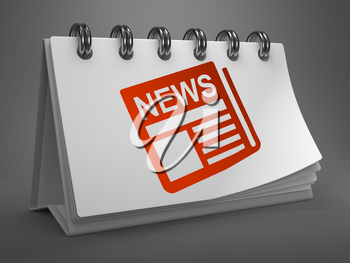 News - Red Newspaper Icon on White Desktop Calendar Isolated on Gray Background. Mass Media Concept.