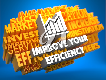Improve Your Efficiency with Growth Chart on Yellow WordCloud on Blue Background.