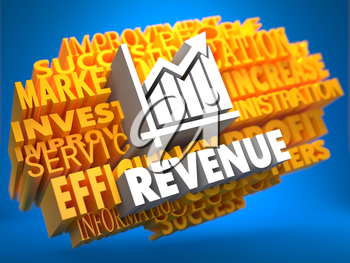 Revenue with Growth Chart Icon on Yellow WordCloud on Blue Background.