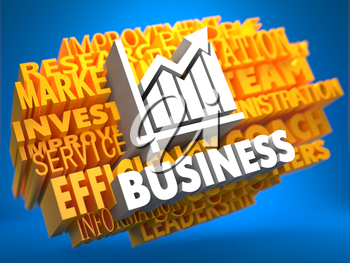 Business with Growth Chart Icon - White Text on Yellow WordCloud on Blue Background.