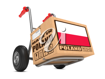 Cardboard Box with Flag of Poland and Made in Poland Slogan on Hand Truck White Background. Free Shipping Concept.