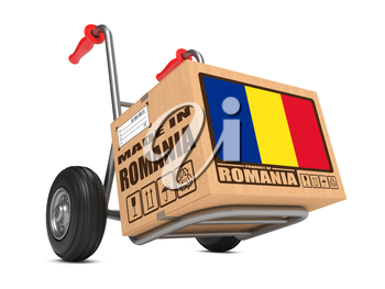 Cardboard Box with Flag of Romania and Made in Romania Slogan on Hand Truck White Background. Free Shipping Concept.