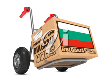 Cardboard Box with Flag of Bulgaria and Made in Bulgaria Slogan on Hand Truck White Background. Free Shipping Concept.